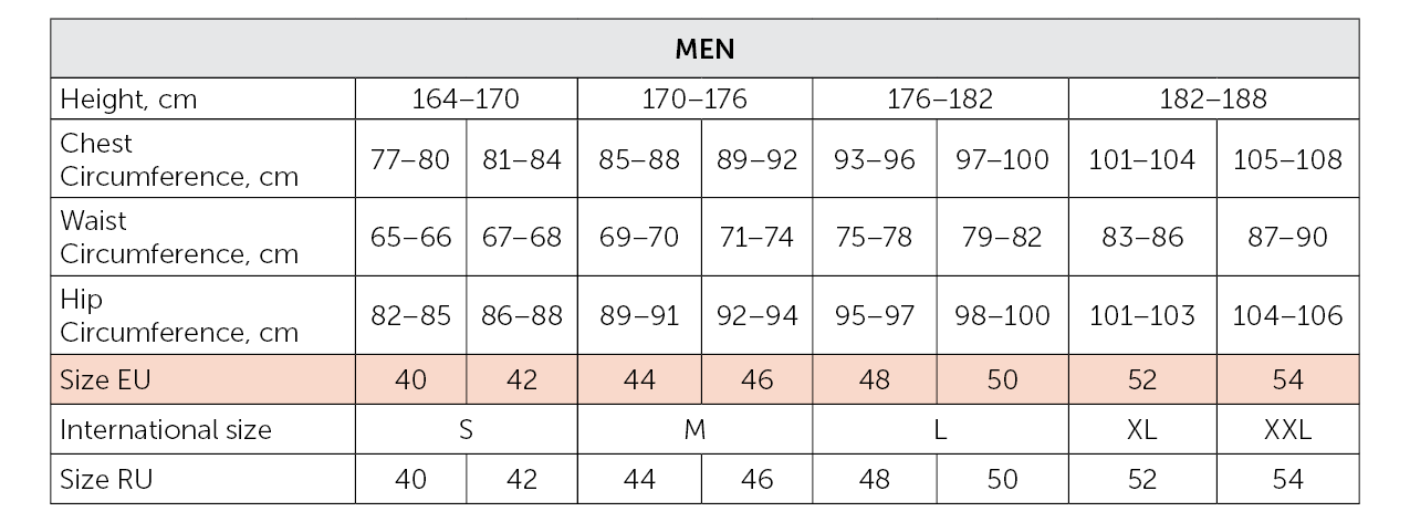 Grishko apparel size correspondance chart